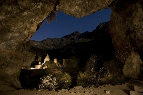 Geghard monastery at night