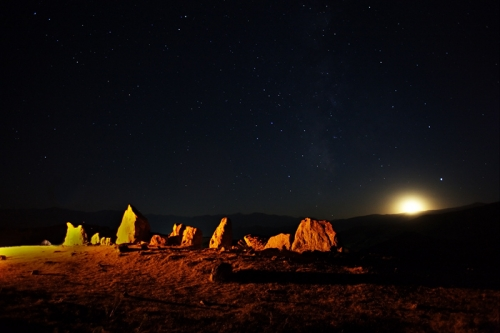 Moonset and dolmens.