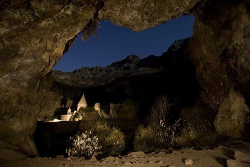 Geghard monastery at night